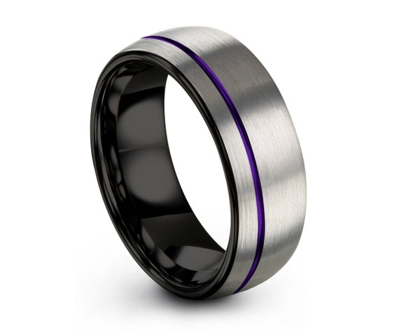 Unisex Brushed Silver With Black Interior Wedding Ring | Purple Offset Line | Dome Wedding Band | 8mm Tungsten Carbide Ring | Custom Engrave