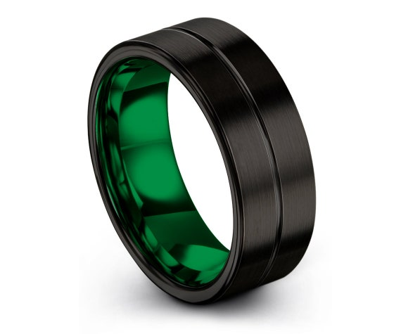 Black His and Hers Wedding Bands,Tungsten Engagement Ring Green,Mens Engraved Ring,Tungsten Ring Men 6mm,Fathers Gift,Flat and Comfort