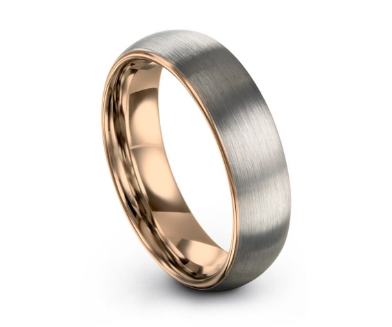 Rose Gold Tungsten Ring, Rose Gold Wedding Ring, Brushed Silver Tungsten Ring 5mm 18K, Engagement Ring, Promise Ring, Gifts for Her, Gifts