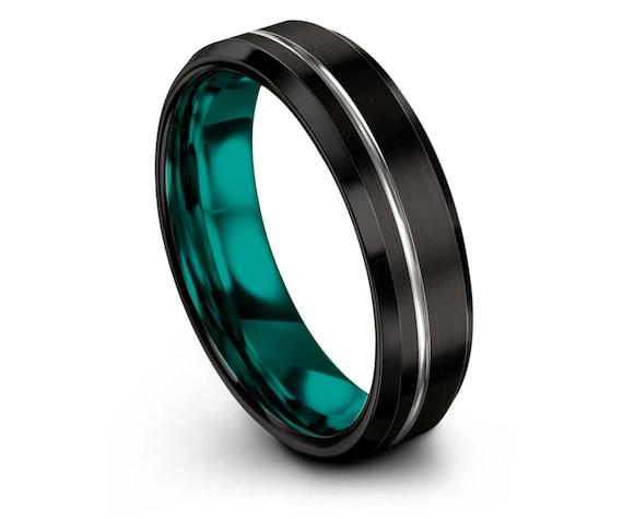 Black Beveled Tungsten Ring,Teal Wedding Band, Offset Line Silver Engraving, Tungsten Carbide 6mm, Women Wedding Gifts,Custom,Host Gift
