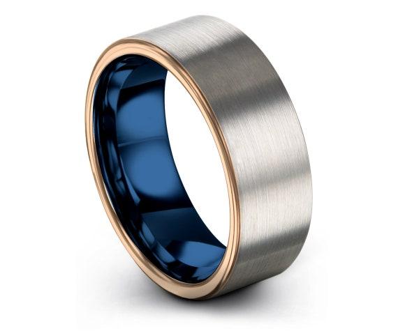 Modern Wedding Band Blue, Mens Grey Ring, Wedding Ring Set, Brushed Polished, Rose Gold Tungsten Ring 8mm, Custom Gifts, Valentine's Gifts