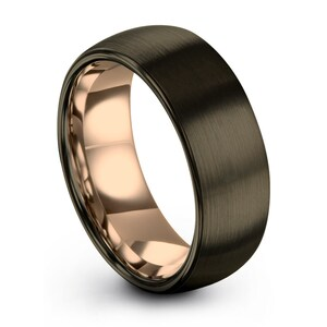Gunmetal Tungsten Ring Mens Wedding Band Wedding Ring Etsy