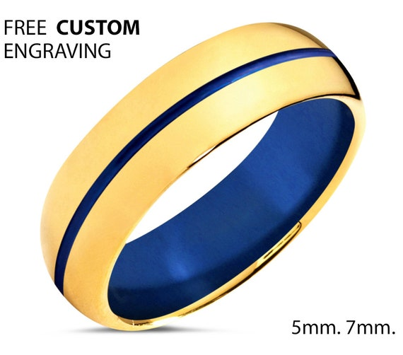 Unique Mens Wedding Band - Gold Tungsten Ring 18k - Men & Women Anniversary Ring - Engagement 7mm Wedding Ring for Her - Comfort Fit