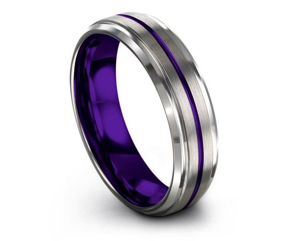 Silver Beveled With Step Edge Ring,Mens Purple Rings,Tungsten Wedding Band,Polished ID band,Personalized Ring,Papa Gift,All Size 4-15