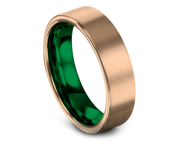 Comfort Fit Rose Gold Tungsten Ring, Personalized Ring, Tungsten Wedding Band Green, Flat Cut, Couple Matching Ring, All Size Available, 6mm