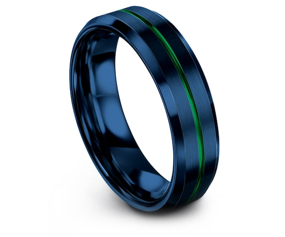 Couples Ring | Brushed Blue Wedding Ring | Beveled Tungsten 6mm Ring | Center Line Engraving Green | Anniversary Gift | Free Shipping