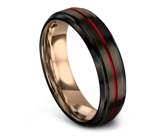 6mm 8mm Tungsten Wedding Band, Gunmetal Tungsten Wedding Band, Black Tungsten Ring, Center Engraving Red Ring, Rose Gold Wedding Band