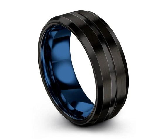 Mens Wedding Band Blue, Mens Ring Black, Wedding Ring, Engagement Ring, Tungsten,  Promise Ring, Rings for Men, Rings for Women