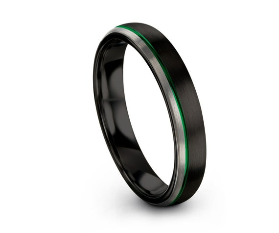 Unique Unisex Wedding Band with Green Offset Line | Brushed Two Tone Black Silver Tungsten Ring | Wedding, Engagement, Promise, Gift Ring