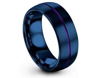 Domed Wedding Band, Blue Brushed in Center Line Purple Engraved Ring, His and Hers Rings, Personalized Ring, Ring For Gifts, Comfort Fits
