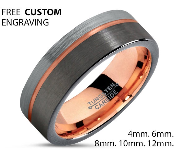GUNMETAL Tungsten Ring, Mens Wedding Band, Rose Gold Ring 18K 8mm, Wedding Ring, Engagement Ring, Promise Ring, Rings for Men, Gold Ring