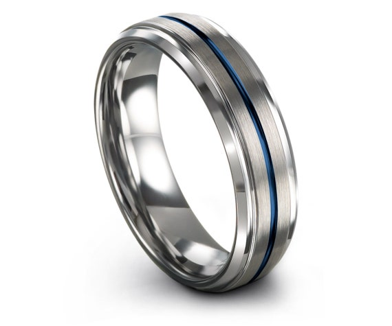 Luxury Wedding Band Blue,Tungsten Wedding Ring Silver,Comfort Fit, Center Line Engraving Blue, Rings for Men,Gifts For Her,Wedding Signs