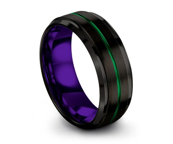 Black Green Purple Man Wedding Band, Mens Wedding Band Purple 8mm, Tungsten Wedding Ring Green, Engagement Ring, Promise Ring, Personalized