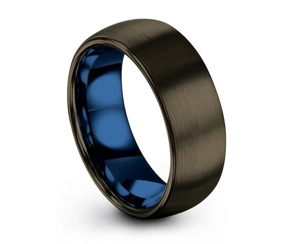 Blue Personalized Free Interior Engraving Tungsten Ring • Boyfriend Jewelry • Girlfriend Jewelry •Pet Ring •Wedding Band • Gunmetal