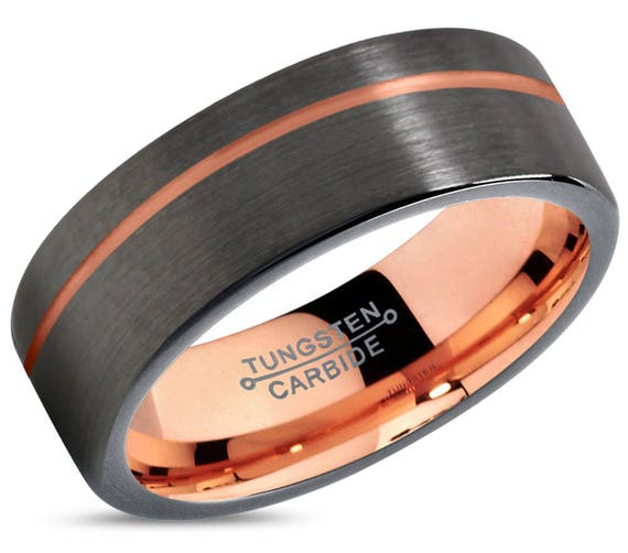 GUNMETAL Tungsten Ring Rose Gold Black Wedding Band Ring Tungsten Carbide 7mm 18K Ring Man Wedding Band Male Women Anniversary Matching