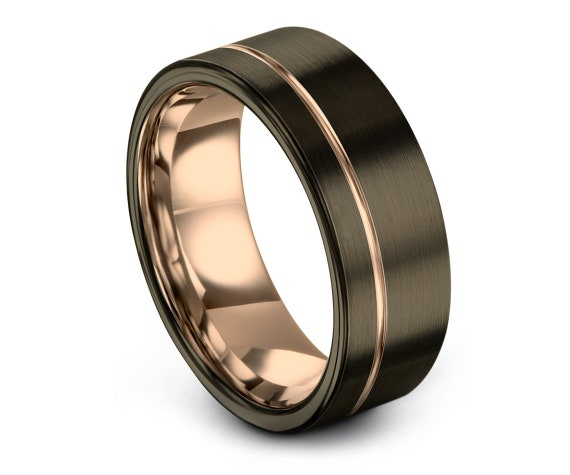 Mens Wedding Band Tungsten | Brushed Gunmetal Ring Band | Minimalist Wedding Band | Custom Engraving | Fast Shipping | All Size Available