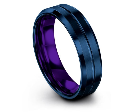 6mm 8mm Beveled Purple Tungsten Wedding Band, Mens Blue Wedding Band, Engraved Ring, Engagement Ring, Gifts for Him, Fathers Gift Idea