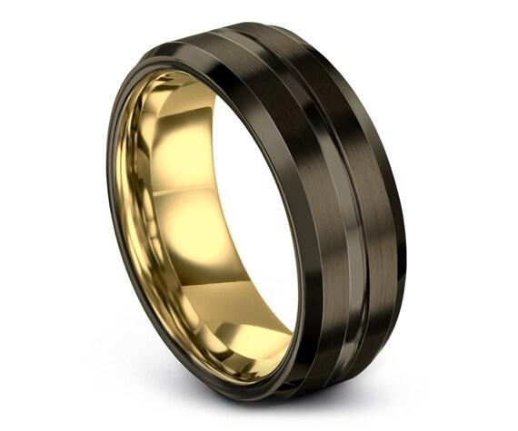 Gunmetal Tungsten Wedding Band | Modern Wedding Band | Yellow Gold Engagement Ring  | Adjustable Ring | Couple Ring Set | Custom Engraving