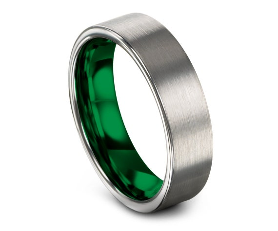 Mens Wedding Band Silver   Tungsten Carbide Wedding Band   Tungsten Ring Green   Personalized Rings   Gifts for Men   Best Father Gift