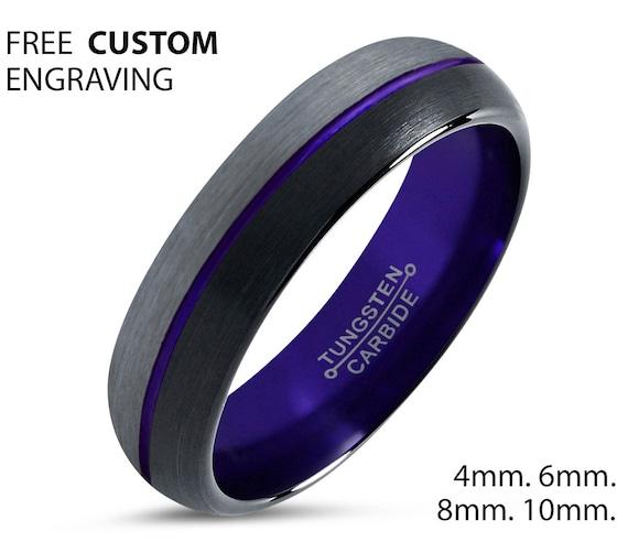 Mens Wedding Band Purple, Black Tungsten Ring, Brushed Silver Wedding Ring, Engagement Ring, Promise Ring, Rings for Men, Rings for Women