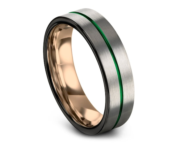 Silver Wedding Ring Tungsten, Black Wedding Band Men, 18K Rose Gold Tungsten Band, Center Engraving Green Ring, 6mm 8mm, Free Shiping