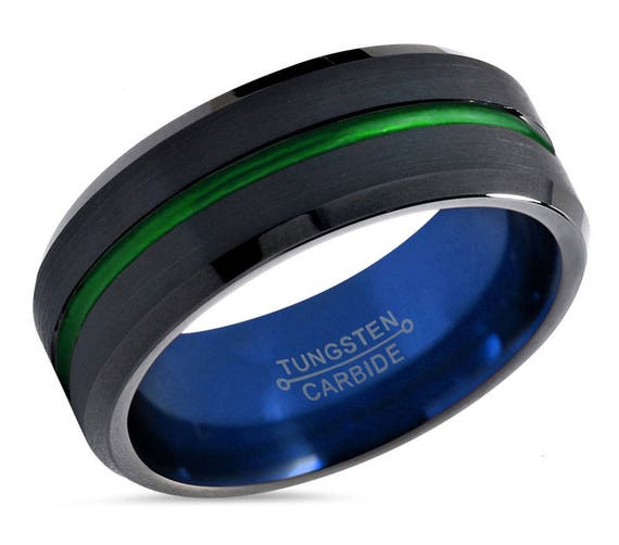 Mens Wedding Band Blue, Tungsten Ring Black 8mm, Wedding Ring Green, Engagement Ring, Promise Ring, Gifts for Her, Gifts for Him