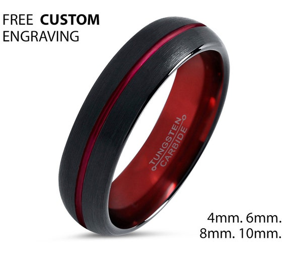 Mens Wedding Band Red, Black Wedding Ring, Tungsten Ring 4mm, Personalized, Engagement Ring, Promise Ring, Rings for Men, Rings for Women