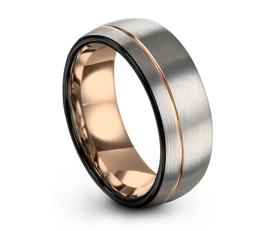 Mens Rose Gold Wedding Band, Brushed Silver Black Ring Tungsten Carbide 8mm 18K Man Women Anniversary Matching, Free Engraving & Shipping