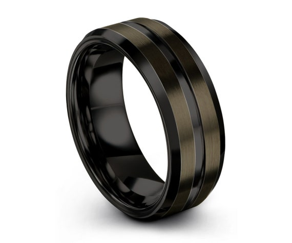 GUNMETAL Tungsten Ring Black Wedding Band Ring Tungsten Carbide 8mm Ring Man Wedding Band Male Women Anniversary Matching