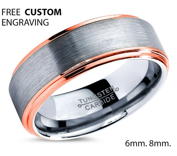 Mens Wedding Band Silver, Tungsten Ring Rose Gold 18K 8mm, Wedding Ring, Engagement Ring, Promise Ring, Rings for Men, Rings for Women
