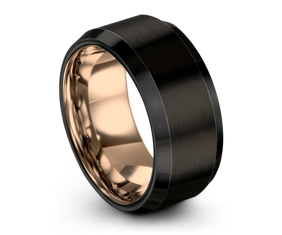 Mens Wedding Band, Wedding Ring Rose Gold 18K, Tungsten Ring 10mm, Engagement Ring, Promise Ring, Rings for Men, Rings for Women, Black Ring
