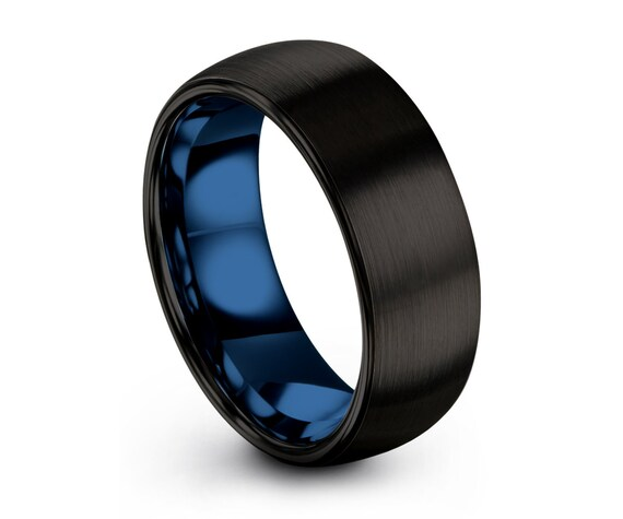 Tungsten Ring Mens Black Blue Wedding Band Tungsten Ring Tungsten Carbide 8mm Tungsten Man Wedding Male Women Anniversary Matching All Sizes