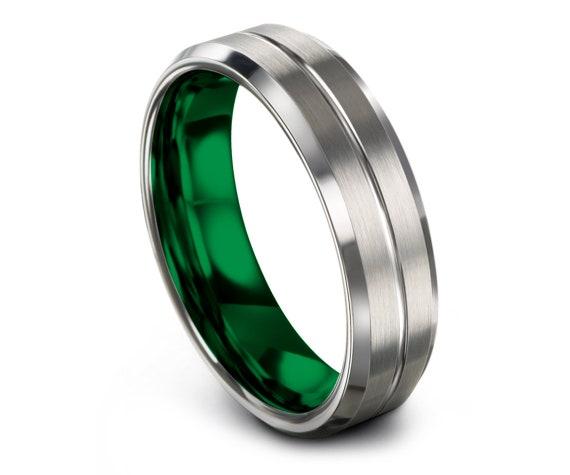 Beveled Silver Tungsten Wedding Ring, Green Tungsten Wedding Ring, Center Engravable Ring, Engagement Ring, Tungsten Wedding Set, All Size