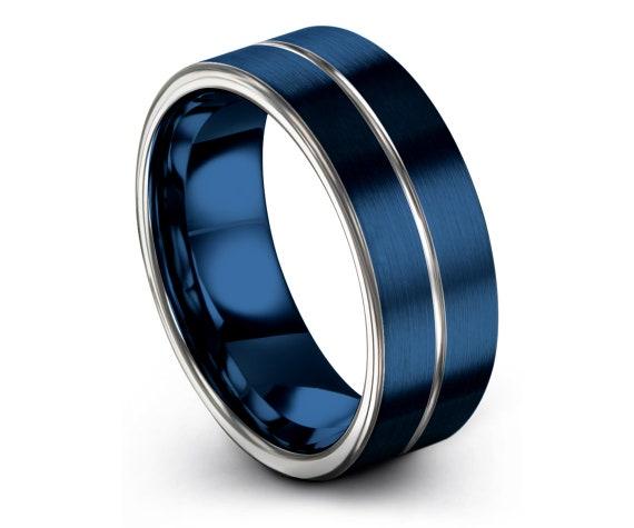 Blue Tungsten Ring Men   Flat Wedding Band Blue   Silver Tungsten Wedding Band   Center Engraving Silver   Tungsten Ring Set   Free Shipping
