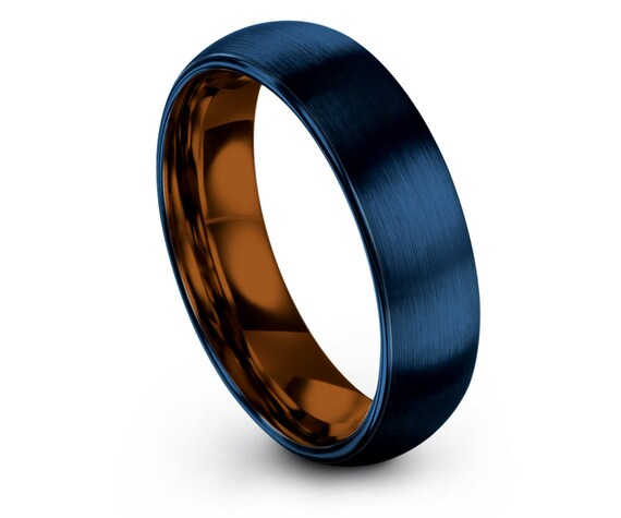 Blue Tungsten Ring 6mm 8mm,Copper Tungsten Wedding Set,Mothers Gifts,Blue Domed Tungsten Ring,Engagement Ring,Couple Ring,Gifts For Him