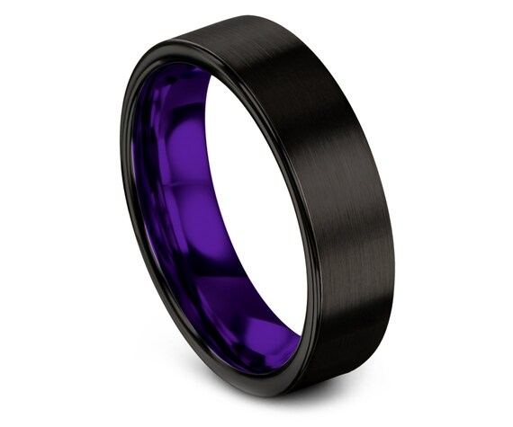Personalized Black Tungsten Band, Mens Purple Ring, Tungsten Band For Men, His and Hers Wedding Rings, His and Hers, Matching Ring