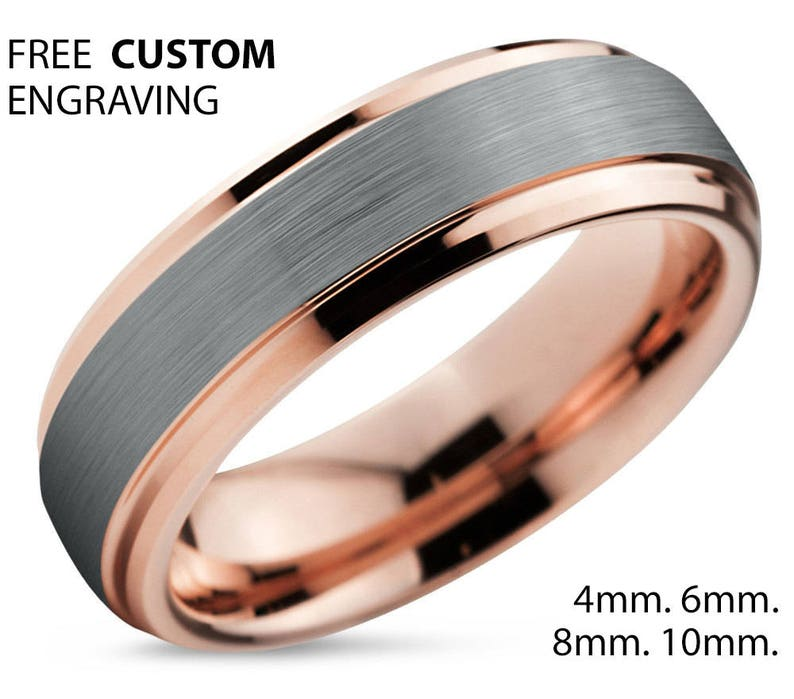 bf6d91d86f5 Rose Gold Wedding Band Brushed Silver Wedding Ring Tungsten
