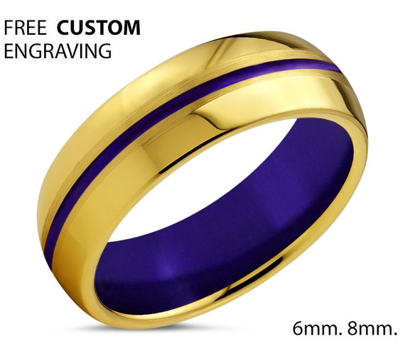 18k Yellow Gold Mens Wedding Band, Tungsten Ring Purple Center Line and Interior, Wedding Ring, Engagement Ring, Promise Ring, Rings for Men