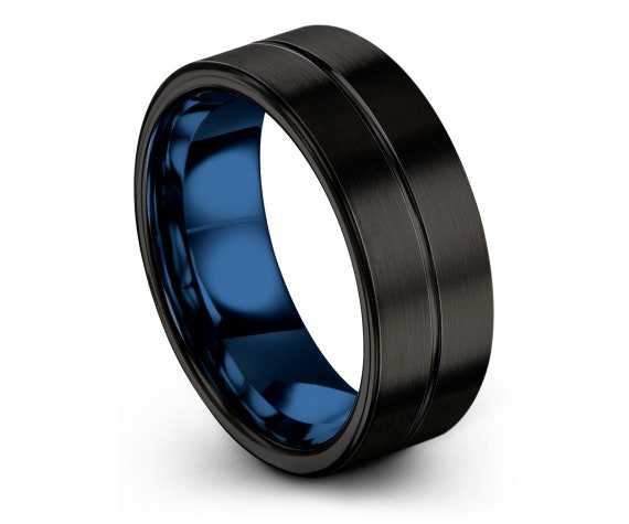 Tungsten Wedding Band Set, Mens Wedding Band, Blue Rings, Black Bands, Engraved Ring, Promise Ring, Gifts for Him, Fathers Day Gift