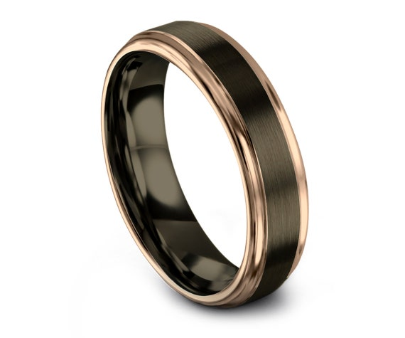 Modern Wedding Band Gunmetal, Mens Tungsten Rings, Minimalist Jewelry,Wedding Tungsten Ring 8mm, His and Hers Rings, Free Fast Shipping