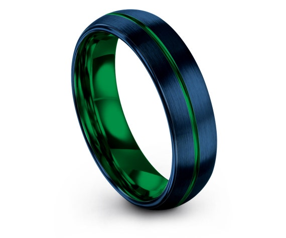 His and Hers Wedding Bands,Domed Tungsten Wedding Band,6mm 8mm Tungsten Carbide Men Ring,Green Line Engraved Ring,Comfort Fit,Free Shipping