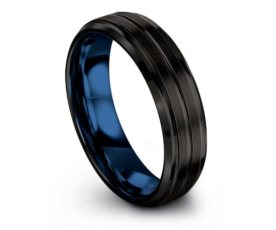 Handmade Wedding Bands,Promise Ring for Her,Blue Tungsten Rings,Black Tungsten Carbide Band,Thin Line Ring,Comfort Fit Ring,Couple Gifts