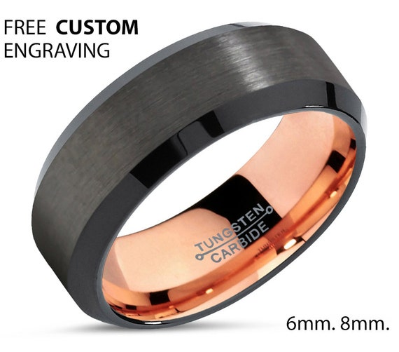 Free Engraving Rose Gold Mens Wedding Band Ring | Tungsten Carbide | Promise | Engagement| Personalized Gift | Free Shipping