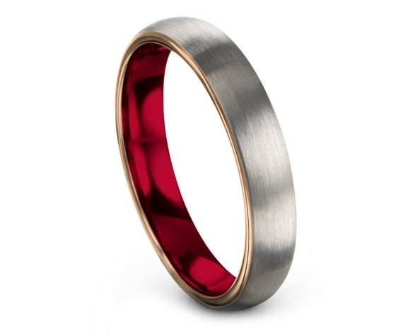 Domed Wedding Band Silver | Wedding Band Tungsten Women | Tungsten Carbide Ring Red | His and Hers Wedding Ring Set | Free Shipping