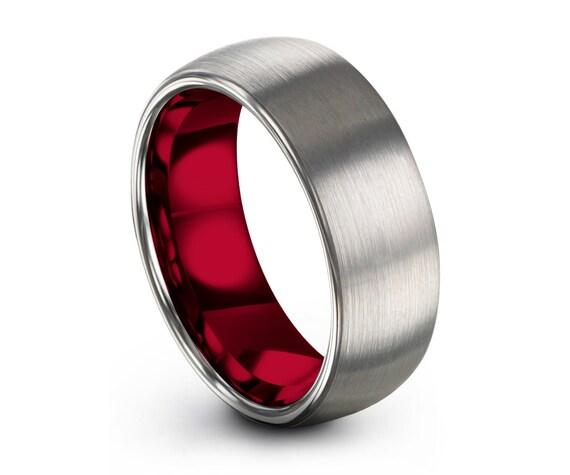 Rose Gold Tungsten Ring, Mens Silver Grey Wedding Band Tungsten Ring Tungsten Carbide 7mm Tungsten Man Wedding Male Women Anniversary