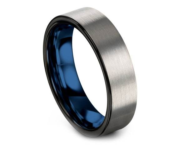 Silver Tungsten Ring Set - Flat Cut Blue Tungsten Ring - Tungsten Wedding Band - Anniversary Gifts - Ring For Couple - Comfort Fit - 6mm