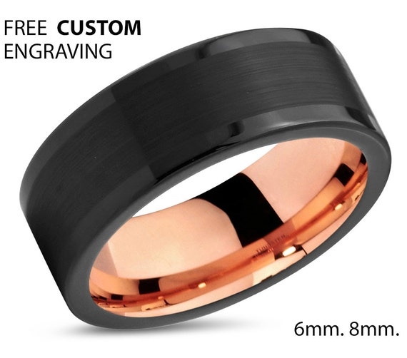Mens Wedding Band, Rose Gold Wedding Ring, Tungsten Ring 8mm 18K, Engagement Ring, Promise Ring, Gifts for Her, Gifts for Him, Personalized