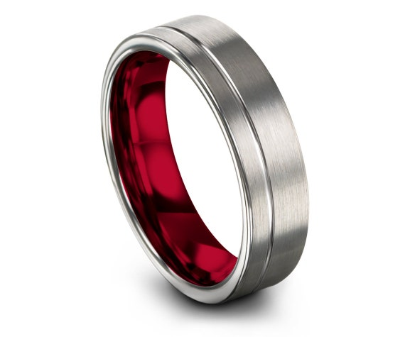 Round Cut Silver Tungsten Ring,Offset Engraving,Grey Wedding Band,Red Tungsten Wedding Band Set,His and Hers,Anniversary Ring,Gifts For Him