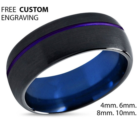 Thin Purple Line Mens Wedding Band, Blue Interior Tungsten Carbide Ring Free Shipping Custom Engraving Included Fast Service Best Seller