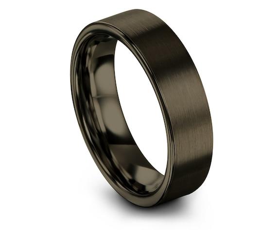 Flat Cut Tungsten Wedding Band Gunmetal | Gunmetal Tungsten Carbide| His and Hers Wedding Band Set | Mens Ring | Gift For Her | Wedding Gift